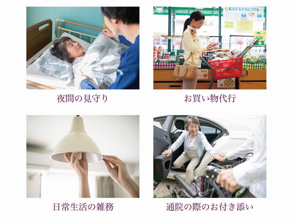 夜間の見守り、お買い物代行、日常生活の雑務、通院の際のお付き添い